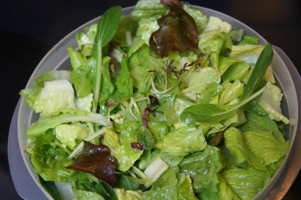 CSA greens, Tatsoi & Cilantro salad