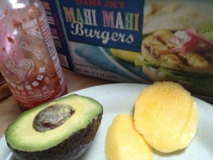 Trader Joe's Mahi Mahi Burgers with avocado and mango