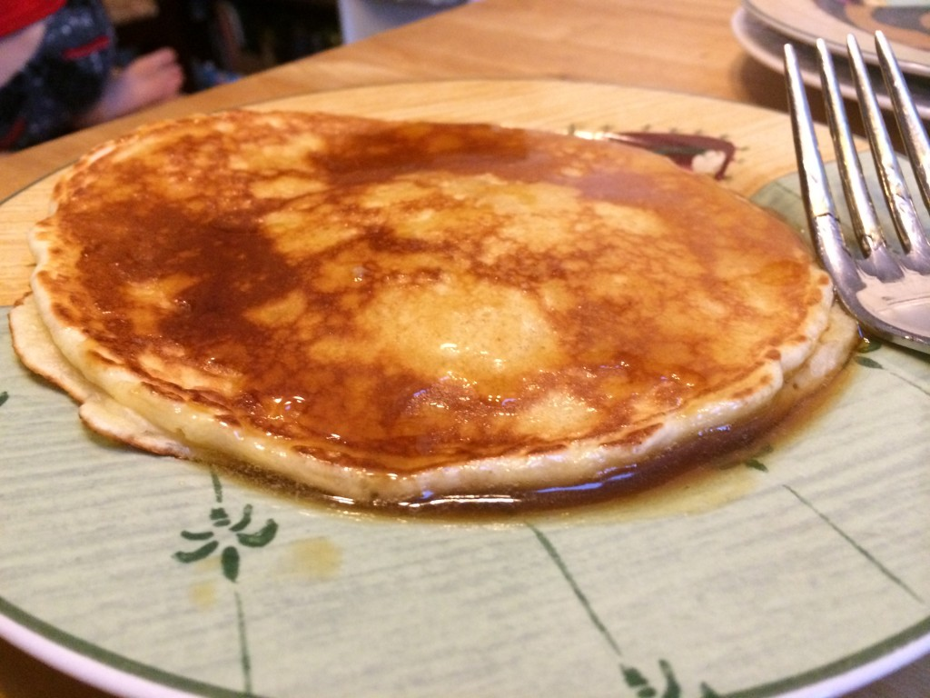 Pancake with warm buttered maple syrup